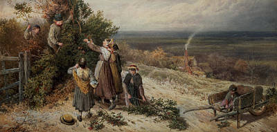 Gatherers Painting - Holly Gatherers by Myles Birket Foster