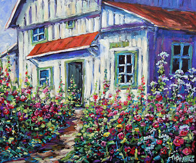 Quebec Painting - Holly Hocks And Wild Flowers By Prankearts by Richard T Pranke