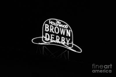 Photograph - Hollywood Brown Derby Neon Hollywood Studios Walt Disney World Prints Black And White by Shawn O'Brien