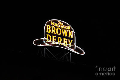 Photograph - Hollywood Brown Derby Neon Hollywood Studios Walt Disney World Prints by Shawn O'Brien