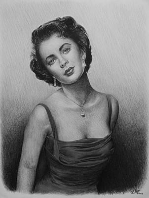 Person Drawing - hollywood greats Elizabeth Taylor by Andrew Read