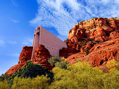 Cavern Mixed Media - Holy Cross Or Red Rock Chapel by Bob and Nadine Johnston