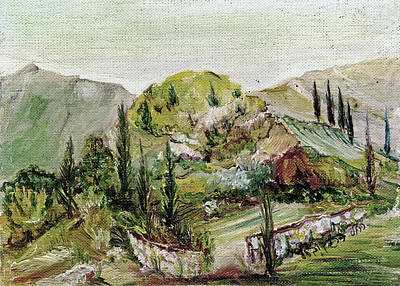 Painting - Holy Green Mountain Landscape  In Spring With Cypress Trees Brown Rock Skyline by Rachel Hershkovitz