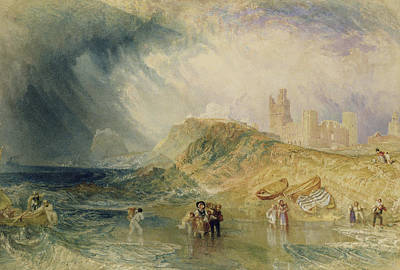 People Walking Painting - Holy Island - Northumberland by Joseph Mallord William Turner