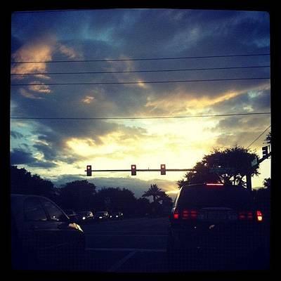 #home #florida #evening #sky #palmtree Art Print