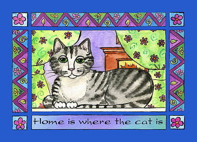 Home Is Where The Cat Is  Art Print by Pamela  Corwin
