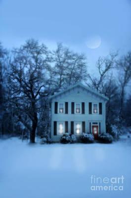 Home On A Wintery Evening Print by Jill Battaglia