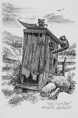 Raccoon Drawing - Home Sweet Home by Virgil Stephens