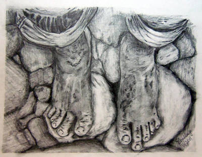 Drawing - Homeless Feet 2 by Shelley Bain