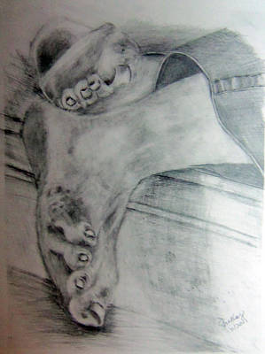 Drawing - Homeless Feet 3 by Shelley Bain