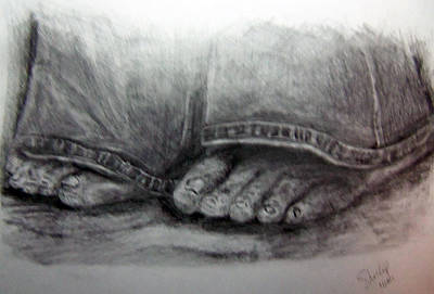 Drawing - Homeless Feet by Shelley Bain