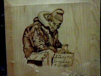 David Gray Pyrography - Homeless Man by David Gray