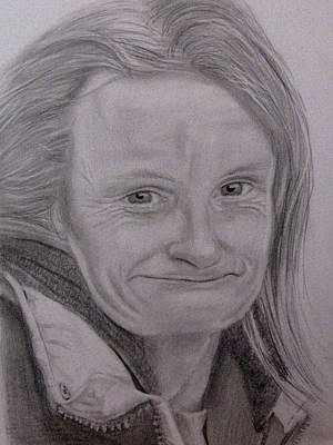 Drawing - Homeless Woman by Kimber  Butler