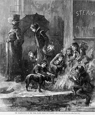 Homeless Women And Children Heating Art Print by Everett