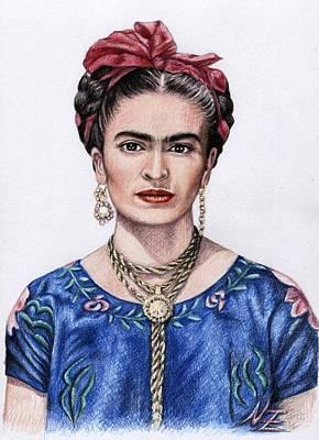 Frida Drawing - Hommage Frida Kahlo by Nicole Zeug