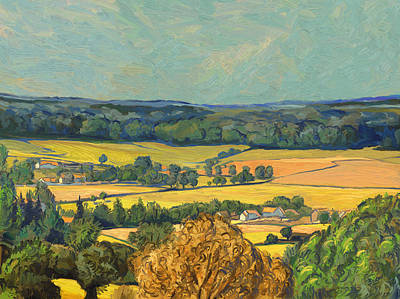 Hill Painting - Hommage To Vincent Van Gogh - Zuid Limburg by Nop Briex