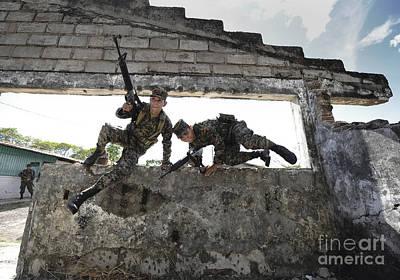 Honduran Army Soldiers Perform Building Art Print by Stocktrek Images