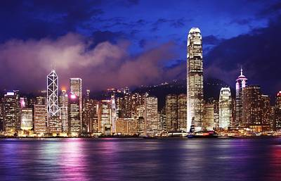 Hong Kong At Night Art Print by Dan Breckwoldt