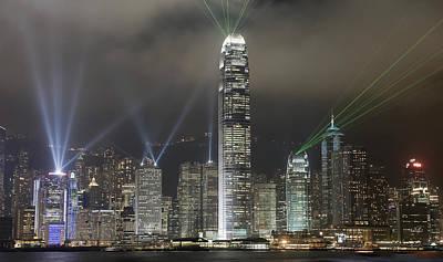 Hong Kong Light Show, At Night, Over Art Print by Axiom Photographic