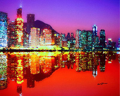 Hong Kong Painting - Hong Kong Lit Up by Anthony Caruso