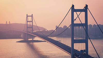 Hong Kong Tsing Ma Bridge At Sunset Print by Yiu Yu Hoi