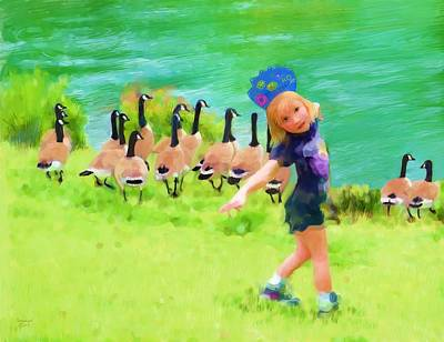 Canadian Geese Painting - Honker Ballet Princess by Cindy Wright
