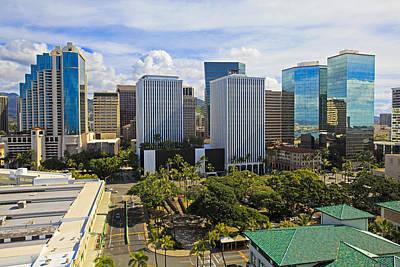 Honolulu Skyline From Aloha Tower Art Print