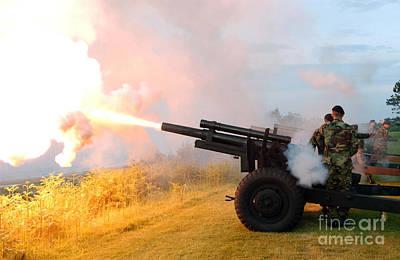 Honor Guard Members Fire A 105 Mm Art Print by Stocktrek Images