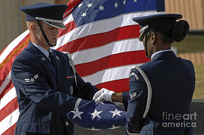 Old Masters - Honor Guard Members Fold The American by Stocktrek Images