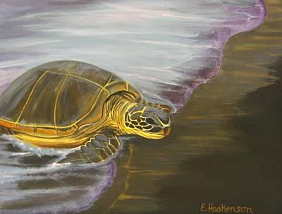 Honu On Black Sand Beach Print by Elaine Haakenson