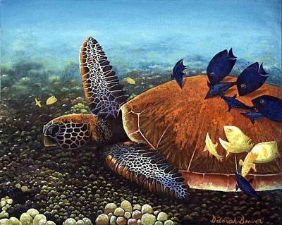 Painting - Honu With Cleaner Fish by Deborah Beaver