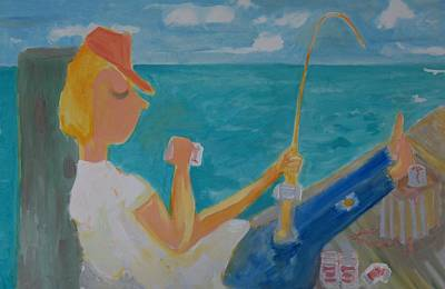 Painting - Hooked by Jay Manne-Crusoe