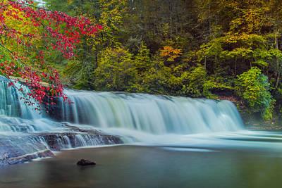 Fall Trees With Stream Photograph - Hooker Falls by Joye Ardyn Durham