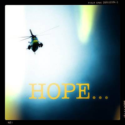 Helicopter Photograph - Hope! #copter #helicopter #rescue by Robert Campbell