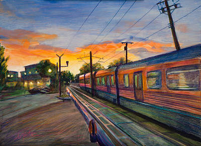 Train Crossing Painting - Hope Crossing by Athena  Mantle