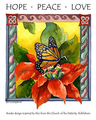 Monarch Butterfly Painting - Hope Peace Love by Anne Gifford
