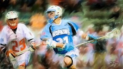 College Lacrosse Midfielder Art Print by Scott Melby
