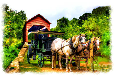 Horse And Buggy In Front Of Covered Bridge Art Print by Dan Friend