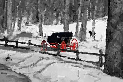 Horse And Buggy - No Work Today - Abstract Art Print by Janice Adomeit