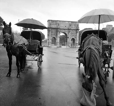 Photograph - Horse Drawn Carriages In Rome by Emanuel Tanjala