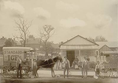Horse-drawn Ice Wagon And Workers Art Print by Everett