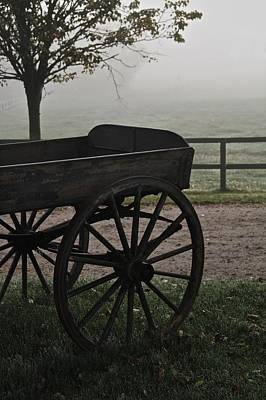 Horse Drawn In The Mist Art Print