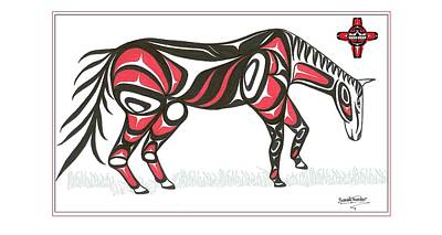 Horse Grass Sun Red Art Print by Speakthunder Berry