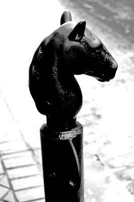New Orleans Digital Art - Horse Head Pole Hitching Post French Quarter New Orleans Black And White Conte Crayon Digital Art by Shawn O'Brien