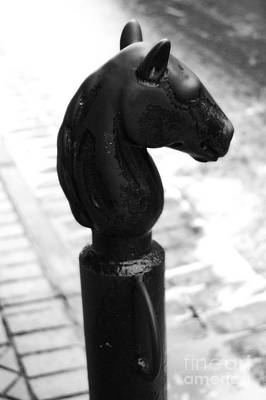 Horse Head Pole Hitching Post French Quarter New Orleans Black And White Diffuse Glow Digital Art Art Print