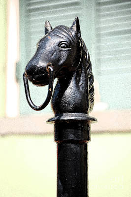 Digital Art - Horse Head Pole Hitching Post Macro French Quarter New Orleans Ink Outlines Digital Art by Shawn O'Brien