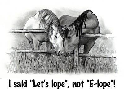Drawing - Horse Humor  by Joyce Geleynse