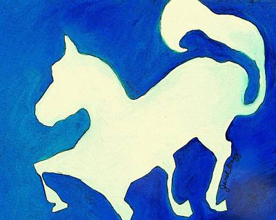 Horse In Blue And White Art Print by Janel Bragg