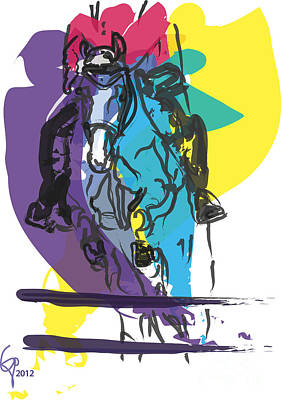 Colorful Art Digital Art - Horse Jumping In Colour by Go Van Kampen
