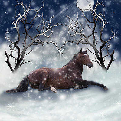 Photograph - Horse Lying Down In Snow by Ethiriel  Photography